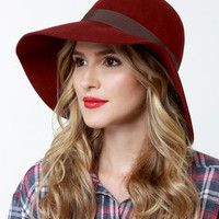 Roxy Autumn Hat - Burgundy Hat - Wool Hat - Floppy Hat - $34.00