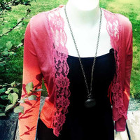 Beautiful Vintage Peach Lace Cardigan