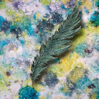 CRAYON LOVE: Aqua Feather Art Print by ElephantTrunkStudio | Society6