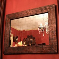 Mirror Mosaic Framed Mirror, Antique Copper Black Finish, 30 x 40 - Handmade