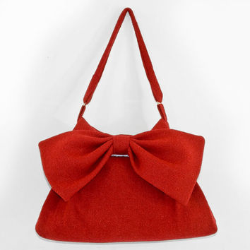 Harris Tweed Rosie Red Bow Bag