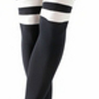 Sexy Womens Black Thigh High Over the Knee Socks Stockings White Stripe Top