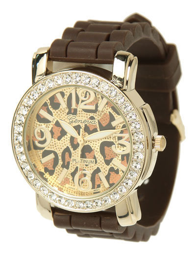 GENEVA Crystal Silicone Link Watch W/ Leopard Print Face (Brown)