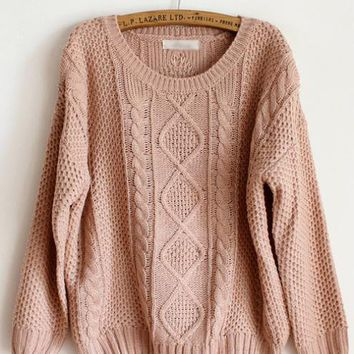 Pretty Round Neck Pink Sweater $44.00
