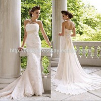 Empire slim a line lace custom made wedding dress bridal gown bridal dress weddiing gown