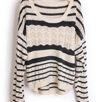 Hollow out  Pretty Striped Black Sweater$43.00