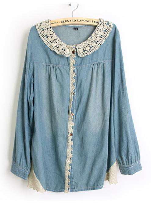 Denim Blue Lace Blouse$44.00