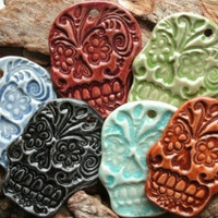 Green Sugar Skull Cabochon Stonewar.. on Luulla