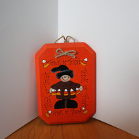 Halloween Trick or Treater Witch Wood Wall Sign