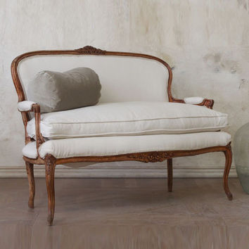 Antique Darling Canvas Settee c 1930s - $1765 - The Bella Cottage