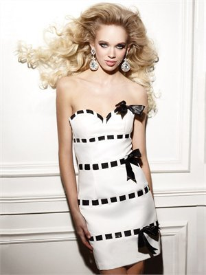 Strapless Sheath Sweetheart White/Black Mini with Bow Prom Dress PD0714