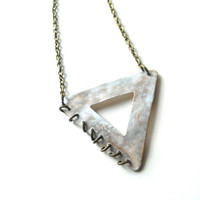 cutout triangle necklace in white patina