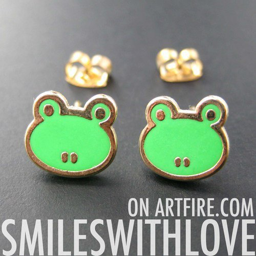 SALE - Small Froggy Frog Toad Animal Stud Earrings in Green on Gold