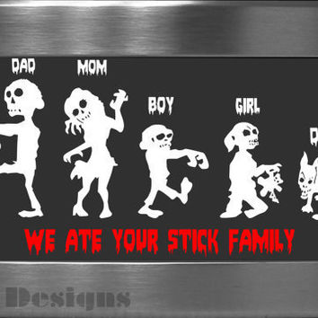 Your choice of 5 Zombie Family vinyl decals / Please READ description for ordering instructions - Car decal - Stick Family decal - Zombie