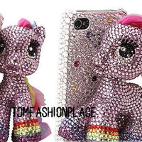 Rainbow treasure Sally pony case bling bling crytal iphone 4 case iphone 4s case 3d iphone case iphone cover sumsang case
