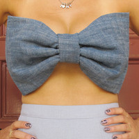 Blue Denim Oversized Bow Bandeau -  Handmade Womens Black Sleeveless / Strapless Top / Blouse / Shirt  - Size: Small Medium Large