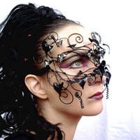 Gothic vine masquerade mask, with acrylic leaves, black, handmade