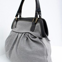 Soft Gray Color Sackcloth Handbag,  Handbag, Diaper bag, women bag