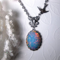 Blue Opal Necklace With Bird