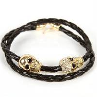 Black Braided Skull Bracelet