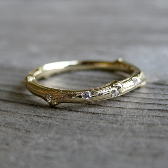 Scattered Diamond Twig Band, Recycled Solid Gold, 2mm