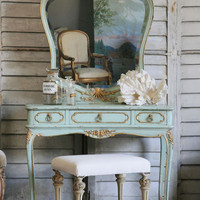 SOLD Antique Lovely Aqua Louis XV Vanity with Mirror - $1695 - The Bella Cottage