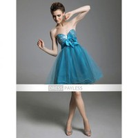 A-line Sweetheart Short/ Mini Sleeveless Beading Sashes / Ribbons Taffeta Tulle Cocktail Dresses(TCDXL017) [TCDXL017] - $94.99 :