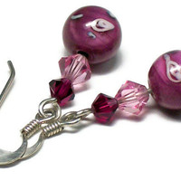 Earrings Pink Floral Swarovski Crystal Lampwork Glass Beads & Sterling Silver