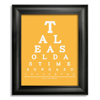 Beauty And The Beast, Tale As Old As Time Song As Old As Rhyme Eye Chart, 8 x 10 Giclee Print BUY 2 GET 1 FREE