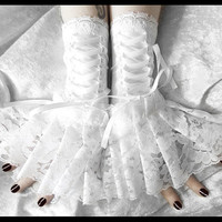 Imbolc Corset Laced Up Fingerless Glove Wrist Cuffs - White Lace & Ribbon - Lolita Rococo Fusion Bellydance Regency Aristocrat Bridal