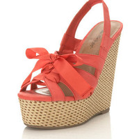 Wish Coral Tie Front Wedge - View All  - Sale & Offers