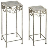 French Style Pair of Metal Plant Stands - White Candle