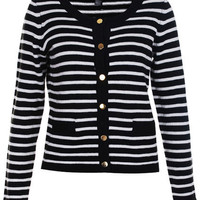 Copper Button Black-white Stripe Knitted Cardigan [NRTS0381] - $44.99 :