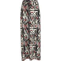 khaki aztec print side split maxi skirt