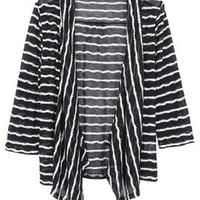 Stripes Opening Style Blue Cardigan [NCSWX0091] - $56.99 :
