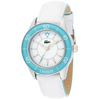 Lacoste Women&#x27;s 2000560 Opio White Leather Blue Plastic Bezel White Dial Watch - designer shoes, handbags, jewelry, watches, and fashion accessories | endless.com