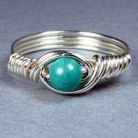 Turquoise Sterling Silver Ring Choice of 56 Crystals and Gemstones