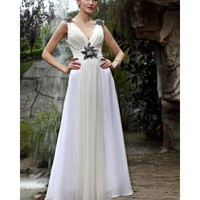 A-line V Neck Floor Length Chiffon Wedding Dress 130321