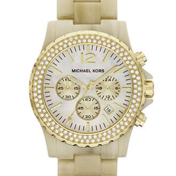Michael Kors Watch, Women's Chronograph Madison Horn Acetate and Stainless Steel Bracelet 45mm MK5558 - All Watches - Jewelry & Watches - Macy's