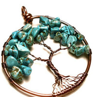 Turquoise Tree of Life Pendant in Earth Toned Copper- PROTECTION