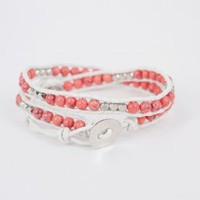 Pinkish Agate Round Beads and Faced Silver Tone Alloy Beads Double Wrap Bracelet : OrHere