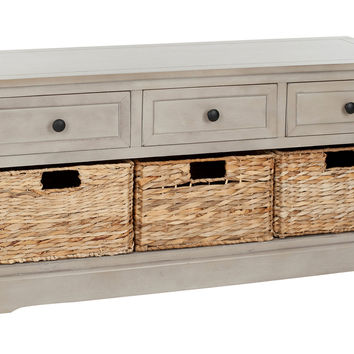 Arlington 3-Drawer Storage Bench, Taupe, Entryway Bench, Bedroom Bench