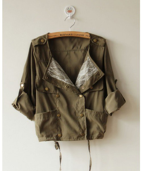 Women Autumn Korea Casual Scoop Neckline Long Sleeve Army Green Short Coat One Size@AY1028ag $20.99 only in eFexcity.com.