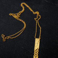 Celtic Knot inspired,silver gold filled hammered necklace