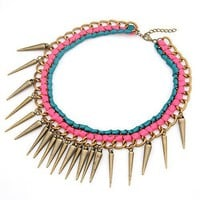 Multi-spike Charm Layered Leather Pink Necklace@10061776