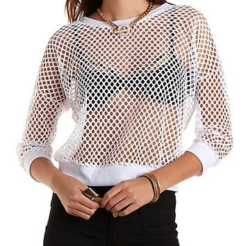 Wide Mesh Pullover Sweatshirt by Charlotte Russe - White