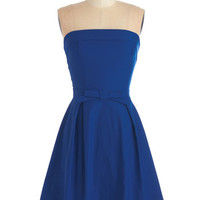 ModCloth Mid-length Strapless A-line Right on Timeless Dress in Cobalt