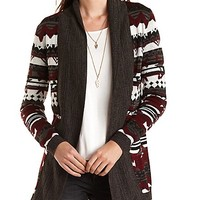 Marled Aztec Cardigan Sweater by Charlotte Russe - Multi