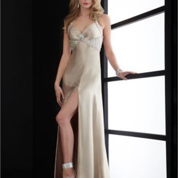 halter Column dark beige Long with Sequins Prom Dress PD0799