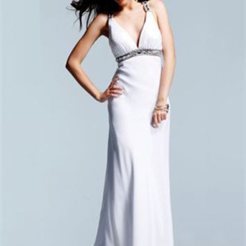 v-neck Column belt crossing back white Long with Sequins Prom Dress PD0920